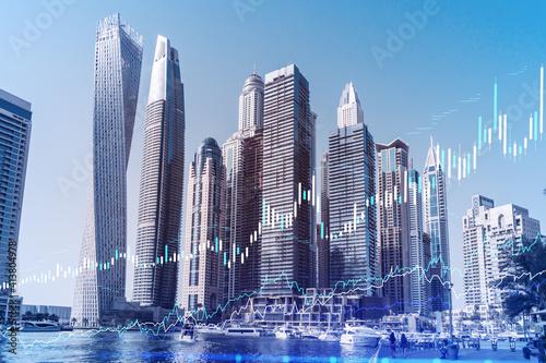 Obraz na plátně Skyscrapers of Dubai business downtown