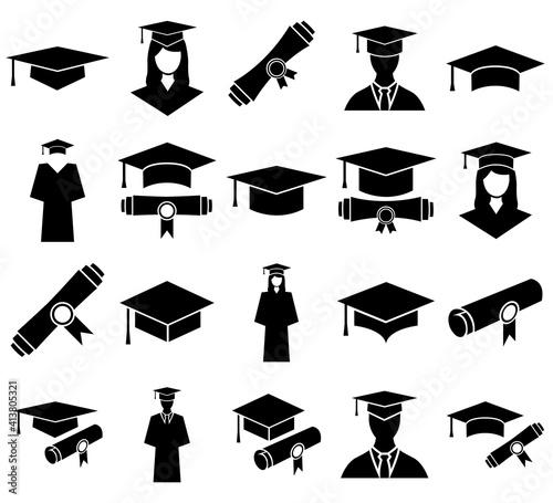 Students cap, education, graduate set icon, logo isolated on white background Fototapet