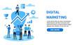 Marketing online concept. Blue uniform men with big light bulb and rising arrow
