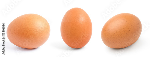 Fotografia chicken egg isolated on the white background,.Collection,Set.