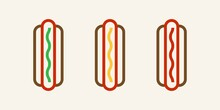 Set Of Three Hotdogs With Different Flavors Icon. Hotdog With Topping Illustration
