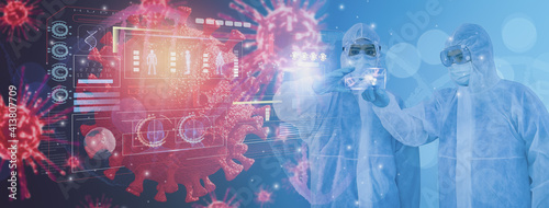 Canvas Print Futuristic medicine doctor use smart visual tablet,research and analysis coronav