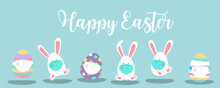 Collection Of Easter Background Set With Rabbit,egg,flower.Editable Vector Illustration For Website, Invitation,postcard And Poster
