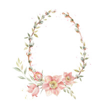 Easter Wreath With Pussy Willow Branches And Primrose Flowers. Delicate Oval Frame With Spring Flowers And Leaves. Retro Style.