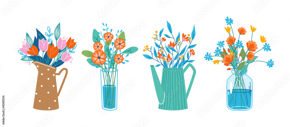 Fototapeta Floral composition in bouquets, flowers in blossoms in decorative vases and water cans, glasses. Vector tulips and peonies, 8 March and birthday gifts, decorations. Spring and summer blooming plants