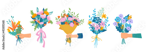 Floral composition in bouquet, isolated set of hands holding flowers in blossom Fotobehang