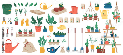 Papel de parede Gardener equipment, set of planting, gardening and farming objects and plants in flowerpots isolated icons