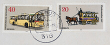 Briefmarke Stamp Gestempelt Used Frankiert Cancel Vintage Retro Post Letter Mail Brief Kutsche Bus Fahrzeug Standardautobus Pferdeomnibus 1907 Pferde Horse Carriage Post Letter Mail Brief