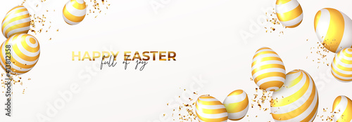 Obraz Happy Easter horizontal banner. White eggs with golden stripes and golden confetti. Vector illustration with 3d decorative objects. Greeting banner. - fototapety do salonu