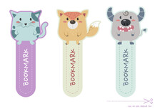 Set Of Animals Bookmark For Print And Cut. Cute Cat, Fox, Buffalo Bookmark And Paper Note Printable Vector Design.