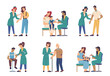 Coronavirus vaccine injection, people of different ages vaccination isolated flat cartoon characters. Vector covid 19 prevention, nurses in uniform making influenza. Immunization of adult and children
