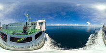 Passenger Ferry In The Blue Sea. Virtual Reality 360. Ferry Service Lipata To San Ricardo, Philippines. 360 Panorama VR.