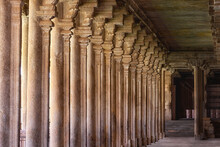 Colonnade In Sri Ranganathaswamy Temple, India. The Sri Ranganathaswamy Is A Hindu Temple Constructed In The Dravidian Architectural Style, And Is The Largest Functioning Hindu Temple In The World