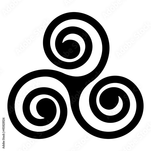 Canvas black Celtic triskelion spirals over the white one
