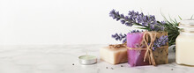 Banner With Lavender Cosmetics Products And Place For Text. Home Body Skin Care, Spa Setting
