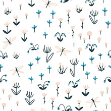 Dragonflies, Herbs And Flowers Nursery Seamless Pattern. Summer Colorful Doodle Illustration In Simple Hand Drawn Scandinavian Style. Vector Sketch On A White Background Ideal For Baby Textiles