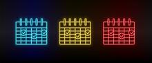 Neon Icon Set Calendar, Deadline. Set Of Red, Blue, Yellow Neon Vector Icon