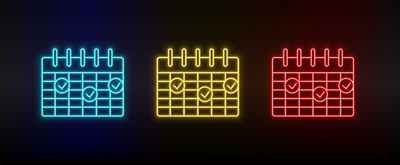 Neon icon set calendar, deadline. Set of red, blue, yellow neon vector icon