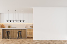 Mockup Copy Space In Wooden Kitchen With Table And Bar Chairs, Parquet Floor