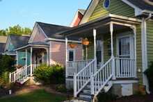 Colorful Cottages In A Residential Neighborhood Of Raleigh North Carolina