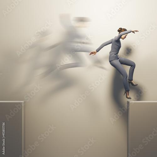 business woman jumps over a gap Fotobehang