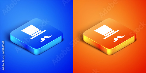 Fotografering Isometric Magician icon isolated on blue and orange background