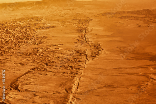 Canvas Print the san Andreas fault earthquake line good visible in the desert of California