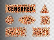 Censorship Elements Set, Censored Bar And Pixel Censor Mosaics Signs Set, Censure Pixelation Effect And Blur, Templates For Photo, App, Tv And Visual Materials Censoring. Sensitive Adult Content Cover