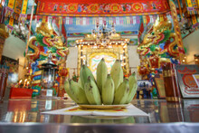 Taoism, Bananas Of Offerings To God Inside A Temple