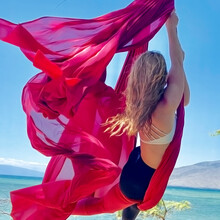 Fairy Silks Blowing In The Wind And Sunshine On The Beach