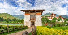 Entrance Way To Punakha Dzong Monastery, One Of The Largest Monastery In Asia, Punakha, Bhutan