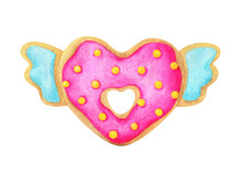 A Heart-shaped Doughnut With Pink Icing And Yellow Sprinkles. Watercolor Illustration Of A Cute Bagel Isolated On A White Background. Donut Clipart For Romantic Footprint Design