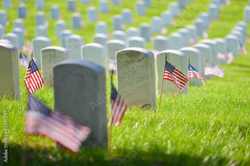 Headstones and National flags in Arlington National Cemetery - Circa Washington D Fototapet