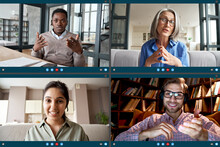Four Diverse Business People Colleagues Participate Virtual Team Meeting On Video Conference Call. Social Distance Workers Having Remote Videoconference Online Chat. Computer Videocall App Screen View