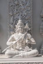 Statue At Wat Ming Muang Temple In Nan