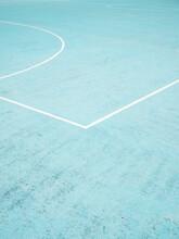 Blue Basketball Court Lines