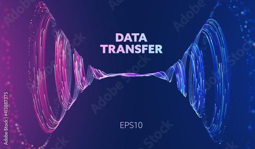 Stampa su Tela Abstract data transfer vortex