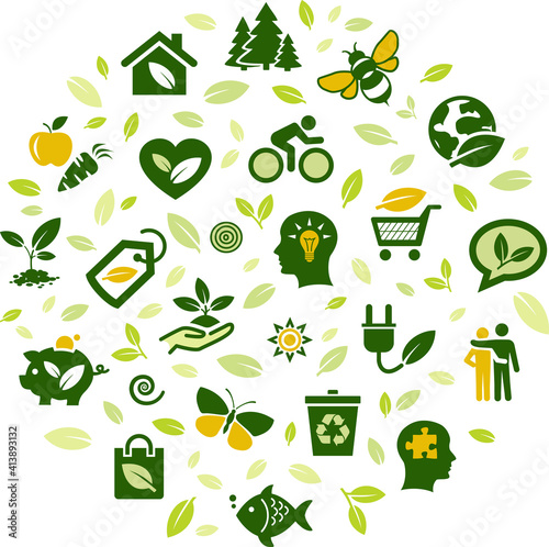 Fototapeta Environmental consiousness / protection illustration. Green concept on eco friendly consumption, ecological conservation, sustainable lifestyle, recycling, zero waste, saving resources, responsibility obraz
