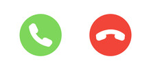 Answer And Decline Phone Call Buttons. Green Yes/no Buttons With Handset Silhouettes Icon. Phone Call Icons. Vector Illustration. EPS 10