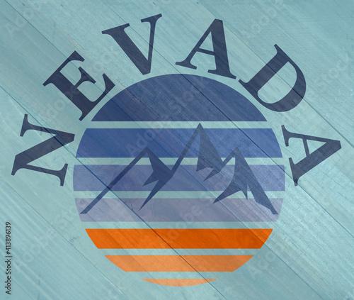 Grunge Nevada mountains sign on wood grain texture #413896139