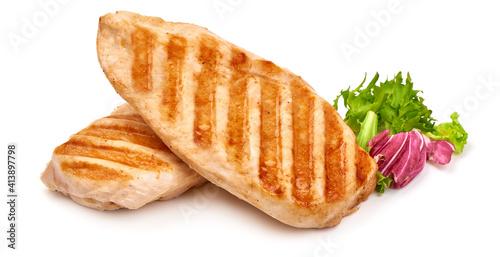 Fototapeta Roasted chicken breast, isolated on white background obraz