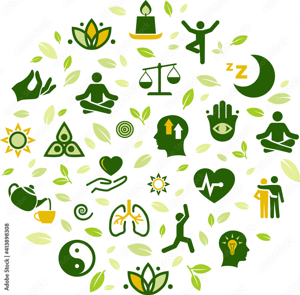 Fototapeta natural mindfulness / meditation / relaxation vector illustration. Green concept on mindful living, awareness, stress-relief, healthy mental state, balance with nature, yoga, peaceful spirituality.