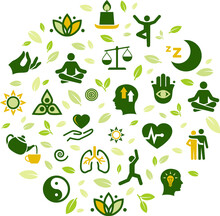 Natural Mindfulness / Meditation / Relaxation Vector Illustration. Green Concept On Mindful Living, Awareness, Stress-relief, Healthy Mental State, Balance With Nature, Yoga, Peaceful Spirituality.