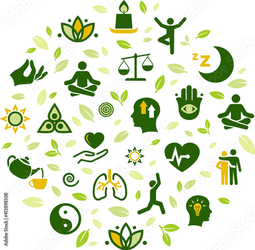 Fototapeta natural mindfulness / meditation / relaxation vector illustration. Green concept on mindful living, awareness, stress-relief, healthy mental state, balance with nature, yoga, peaceful spirituality. obraz