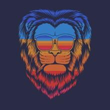 Lion Head Eyeglasses Retro Vector Illustration