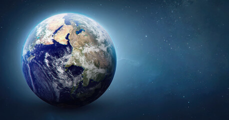 Sphere of Earth planet in outer space. Blue ocean and continents. Solar system element. Elements of this image furnished by NASA