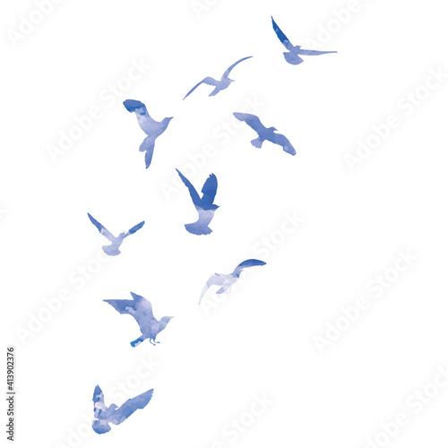 Fotografija Watercolour silhouette of flying birds seagulls on white background