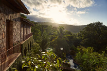 Amazing Panorama Of Hotel And Jungle At Sunrise In Brazil South America.
