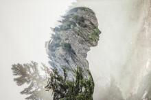 Double Exposure Of A Girls's Profile Silhouette With A Mountain Scene
