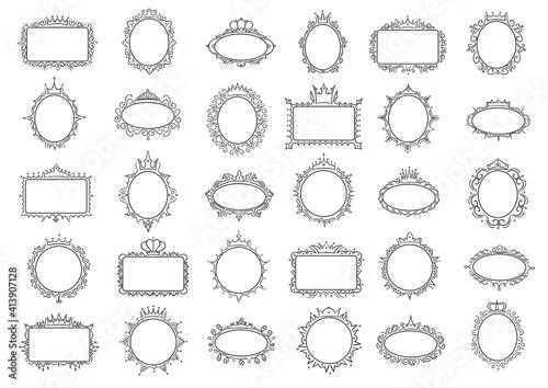 Obraz Cute princess frames. Elegant frame with crown, hand drawn round and rectanglular border vector set - fototapety do salonu